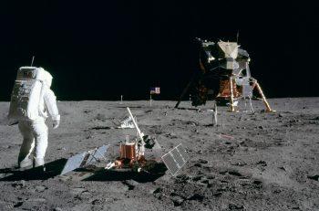 "Astronaut Edwin E.""Buzz"" Aldrin Jr., Lunar Module pilot, is photographed during the Apollo 11 extravehicular activity on the Moon."