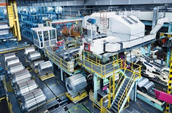 Four-high cold rolling stand at the AMAG rolling GmbH plant in Ranshofen, Austria. The plant is being modernized by Primetals Technologies. (Image courtesy AMAG rolling GmbH).