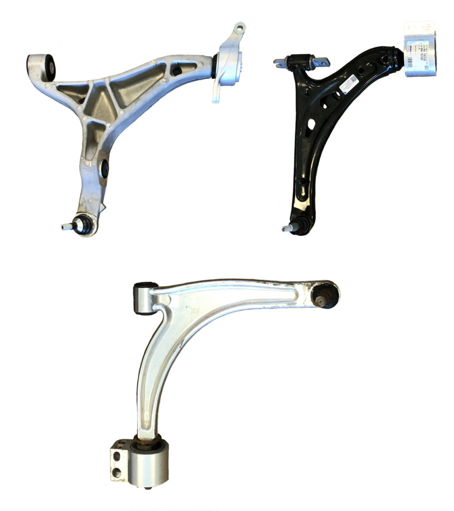 Figure 3. Lower control arms (L-R): forged aluminum, welded steel, and cast aluminum. (Source: Mayflower Consulting.)